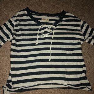 Cute stripped crop hollister shirt